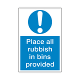 Rubbish In Bin Mandatory Sign | Safety-Label.co.uk