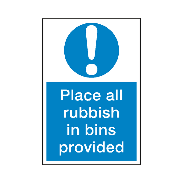 Rubbish In Bin Sticker - Safety-Label.co.uk