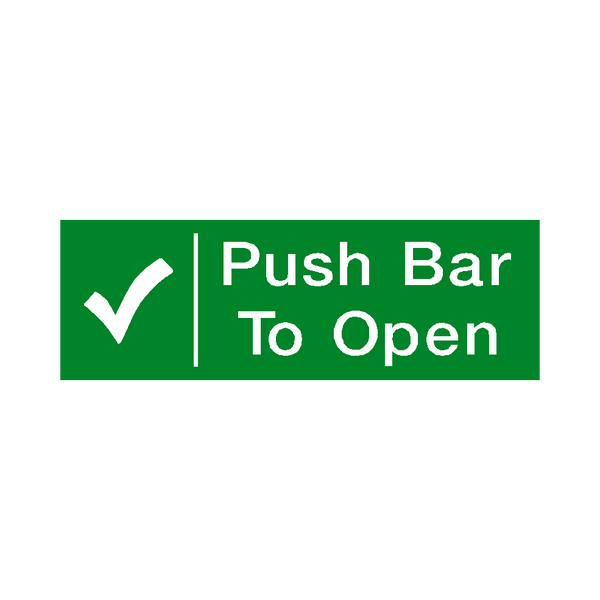 Push Bar To Open Sticker - Safety-Label.co.uk