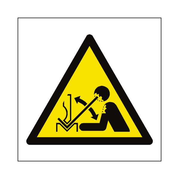 Rapid Movement of Workpiece in Press Brake Hazard Symbol Label | Safety-Label.co.uk