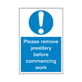 Remove Jewellery Sticker | Safety-Label.co.uk