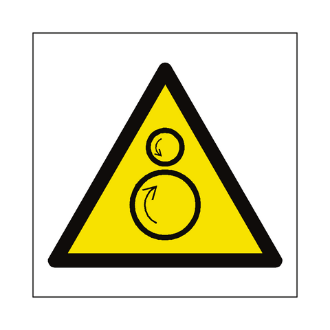 Rotating Rollers Hazard Symbol Label - Safety-Label.co.uk