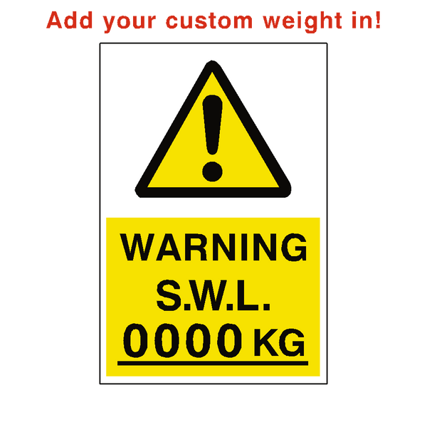 Safe Working Load Sticker Kg Custom Weight - Safety-Label.co.uk