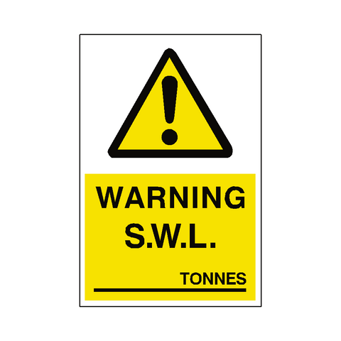 Safe Working Load Sticker Tonnes - Safety-Label.co.uk