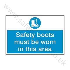 Safety Boots Must Be Worn Safety Sign - Safety-Label.co.uk