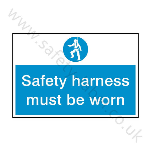 Safety Harness Must Be Worn Sign - Safety-Label.co.uk