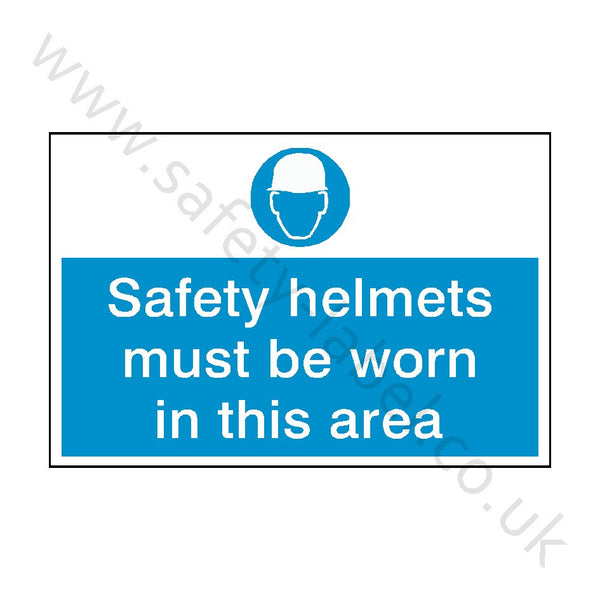 Safety Helmets Must Be Worn Safety Sign - Safety-Label.co.uk
