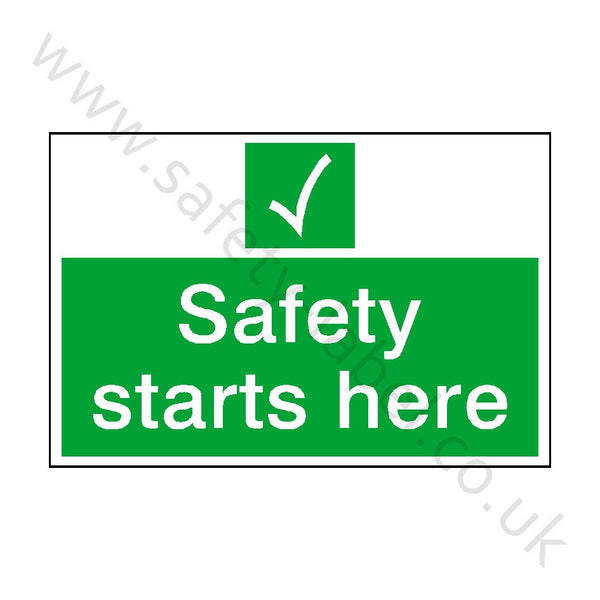 Safety Starts Here Sign | Safety-Label.co.uk