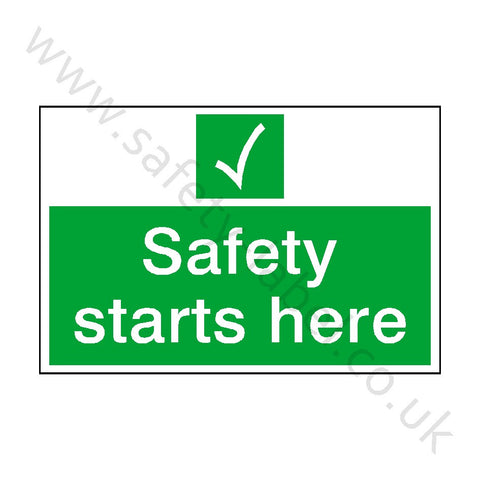 Safety Starts Here Sign - Safety-Label.co.uk