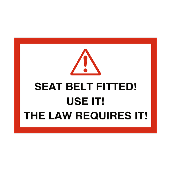 Seat Belt Warning Sticker | Safety-Label.co.uk
