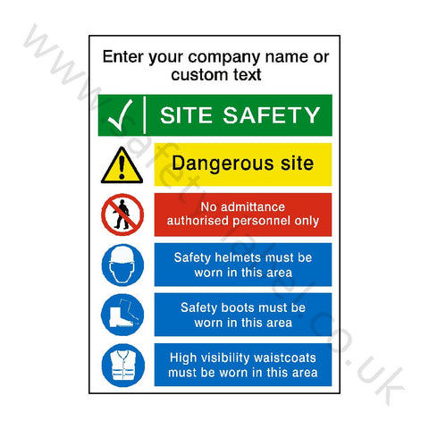 Site Entrance Sign Custom Text - Safety-Label.co.uk