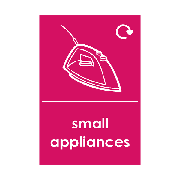 Small Appliances Waste Sign (option 2) | Safety-Label.co.uk