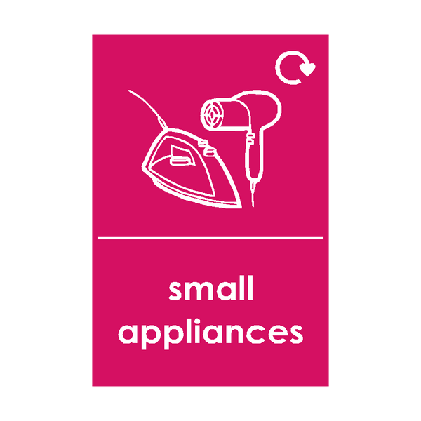 Small Appliances Waste Sign (option 3) | Safety-Label.co.uk