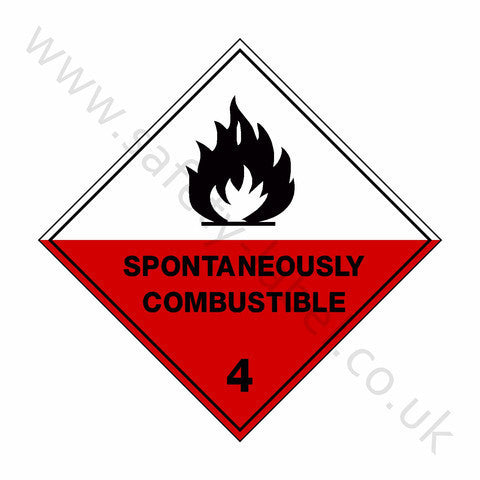 Spontaneously Combustible 4 Sign - Safety-Label.co.uk