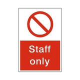 No Staff Sign | Safety-Label.co.uk