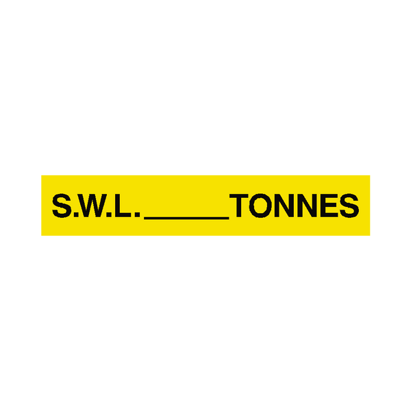 S.W.L Label Tonnes Yellow | Safety-Label.co.uk