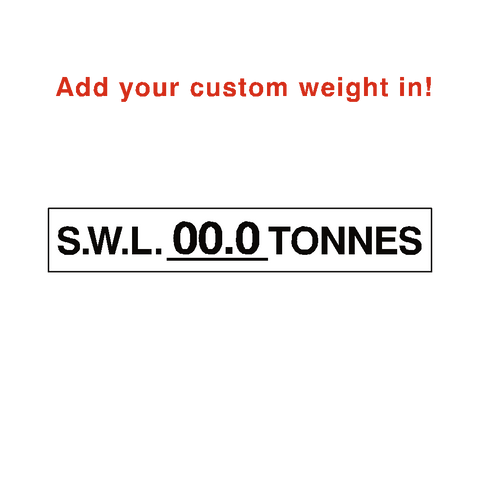S.W.L Label Tonnes White Custom Weight - Safety-Label.co.uk
