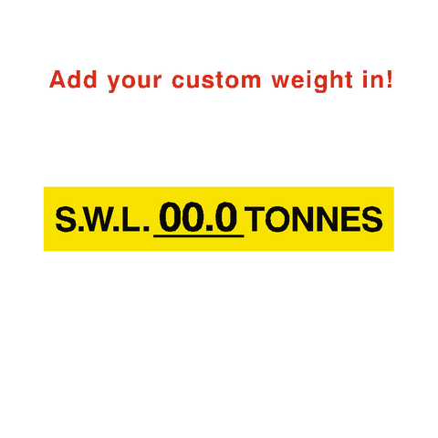 S.W.L Label Tonnes Yellow Custom Weight - Safety-Label.co.uk