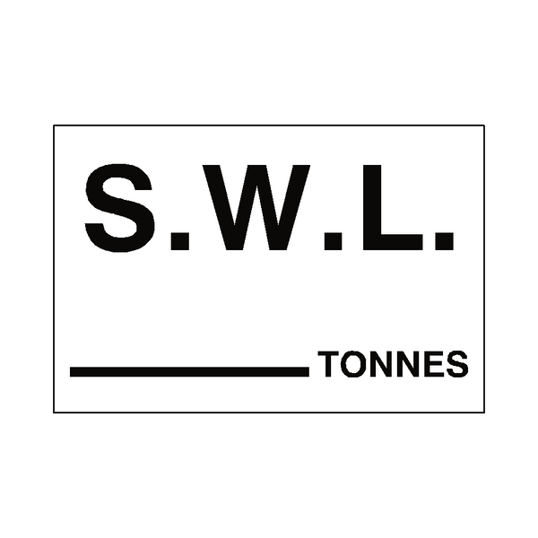 S.W.L Sticker Tonnes White - Safety-Label.co.uk