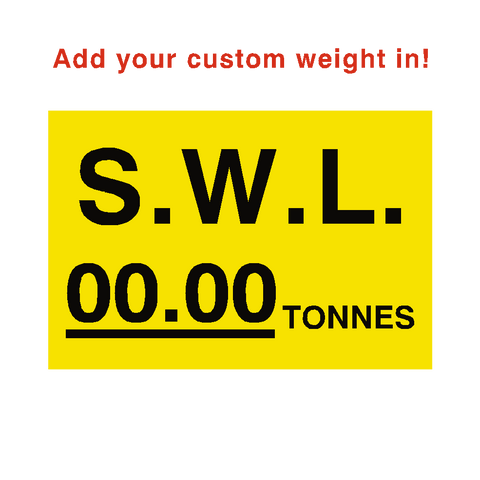 S.W.L Sticker Tonnes Yellow Custom Weight - Safety-Label.co.uk