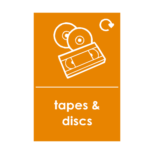 Tapes and Discs Waste Recycling Sticker | Safety-Label.co.uk