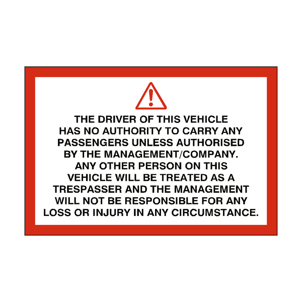 Trespassing Passenger Vehicle Sticker | Safety-Label.co.uk