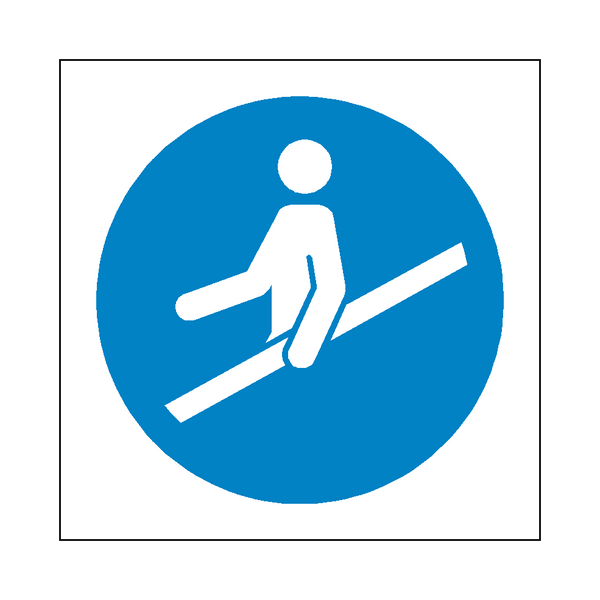 Use Handrail Symbol Sign - Safety-Label.co.uk