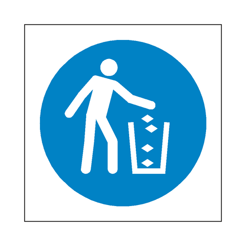 Use Litter Bin Symbol Sign - Safety-Label.co.uk