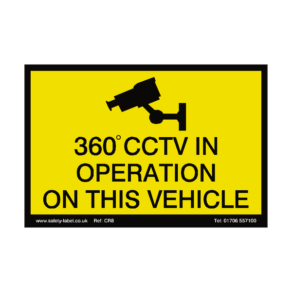360 Degree CCTV Vehicle Sign - Safety-Label.co.uk