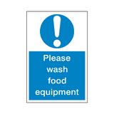 Please Wash Food Equipment Sticker | Safety-Label.co.uk
