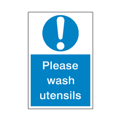Wash Utensils Sticker - Safety-Label.co.uk