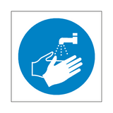 Wash Your Hands Symbol Label | Safety-Label.co.uk