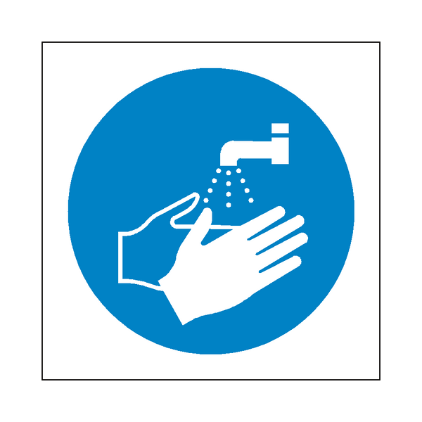 Wash Your Hands Symbol Label - Safety-Label.co.uk