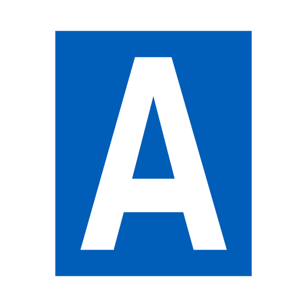 Blue Letter A Sticker | Safety-Label.co.uk