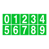 Green Number Sticker Pack 0 to 9 | Safety-Label.co.uk