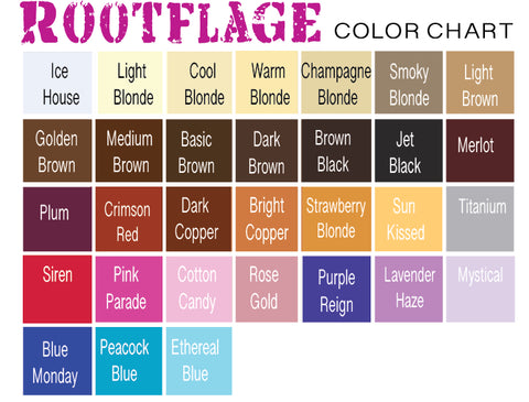 Rootflage Temporary Root Touch Up Color Chart