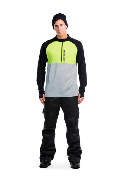 Duct Tape LS Zip - Lime / Grey Marl / Black