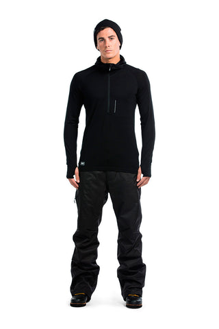 Temple Tech Zip Hood LS - Black