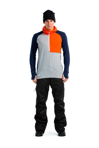 Temple Tech Zip Hood LS - Spice / Navy / Grey Marl