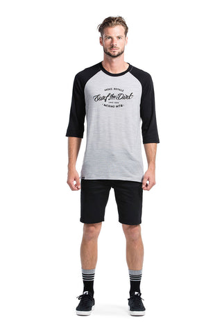 Redwood 3/4 Raglan T Dirt - Black / Grey Marl
