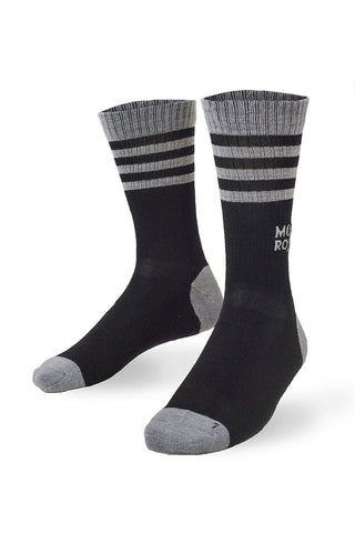 Mid Calf Sock Ribbed - Black / Grey