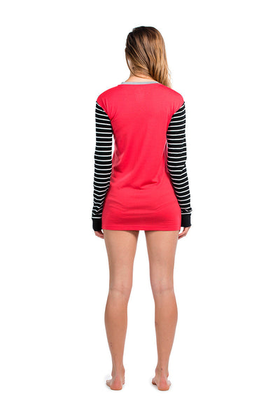 Boyfriend LS - Stripes / Pink / Grey Marl