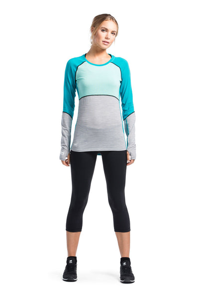 Bella Coola Tech LS Geo - Aqua / Peppermint / Grey Marl