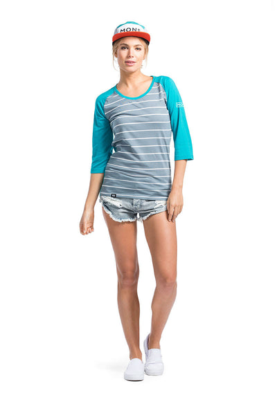 Phoenix 3/4 Raglan Tee Box Small - BT Lead Stripe / Aqua