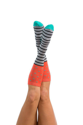 Lift Access Sock - Coral / Mint / Blk / Grey