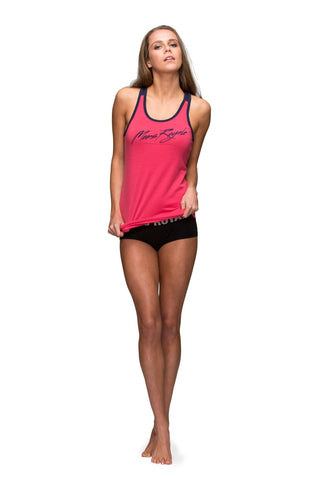 Racer Back Tank  - Hot Pink / Navy