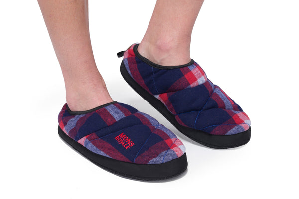 Mountain Slippers - Navy / Red Check
