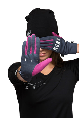Gloves - Charcoal / Fushia