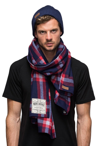 Mountain Scarf - Navy / Red Check