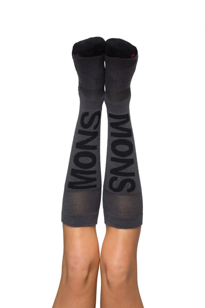 Women's Tech Snow Sock - Charcoal / Black / Hot Pink